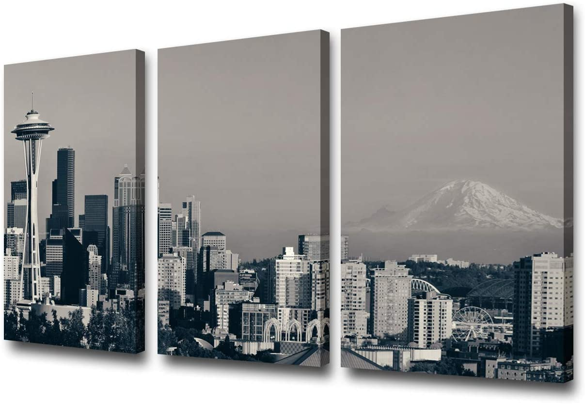 3 Piece Black and White Canvas Wall Art City Seattle Skyline Wall Pictures for Living Room Modern Washington Cityscape Art Wall Decor Stretched and Framed Ready to Hang - 24'' x 12'' x 3 Panels