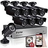 ZOSI 8 channel 960H HDMI CCTV DVR 1TB Hard Drive Pre-installed + 8 In/Outdoor IP66 weatherproof 800TVL Surveillance...