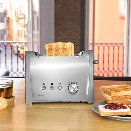 Cecotec Tostadora Acero Steel&Toast 2S. 6 Niveles de Potencia, Capacidad para 2 Tostadas, 3 Funciones(Tostar, Recalentar, Descongelar), Incluye ...