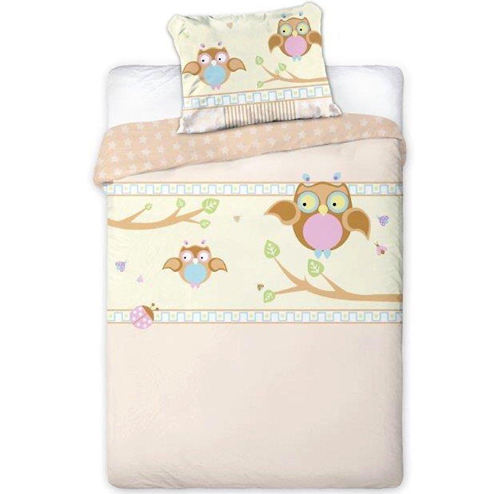 Baby Bettwäsche Kinderbettwäsche 100x135/40x60cm Kleinkind Motiv Eule 2-teilige Garnitur für Kinderbett Bett- und Kissenbezug Faro