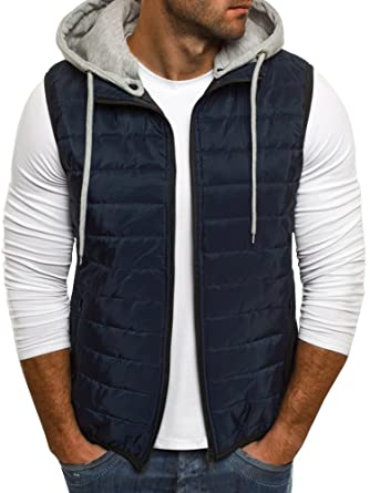 29e22c392d2 Pengfei Men s Quilted Lightweight Packable Zip Up Sleeveless Puffer Vest  Jacket With Hood at Amazon Men s Clothing store