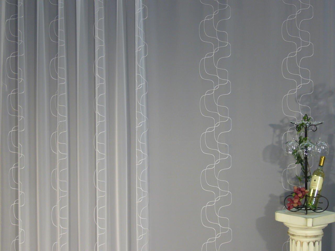 EASYHomefashion Hochwertige Fertiggardine - VOILE Store Store Store mit Motiv STICKEREI - Faltenband&Bleiband »LIMONE« versch. Größen, 230 x 600 cm (HöhexBreite) 02c910