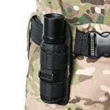 UltraFire 402# Elastic Nylon Flashlight Holster Pouch Case Cover Skin Molle with 360 Degrees Rotatable Belt Clip for WF-502B XML T6 L2 C8 Flashlight Black
