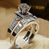 BNisBM Mother's Day Ring,Women Shiny White Sapphire Diamond Engagement Ring Elegant 2pc Size 5-11