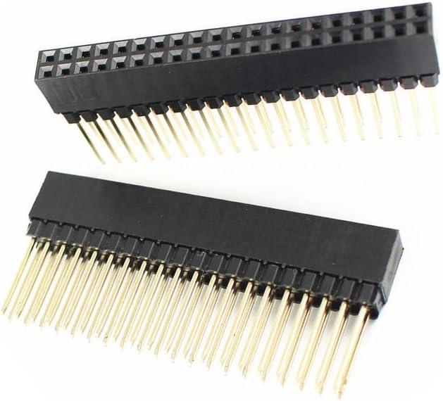 Quickbuying 5 Pcs 2.54mm Pitch 2X20 Pin 40 Pin Female Double Row Long Pin Header Strip PC104