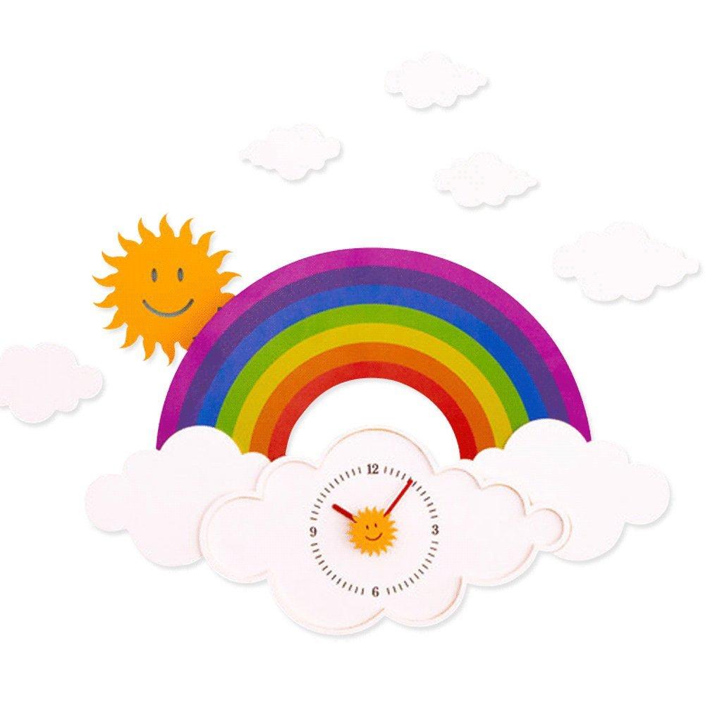 Unbekannt Wanduhr für Kid Mute Regenbogen Muster Dekoration Sonne Weiße Wolken Nordeuropa Schöne Cartoon Kinderzimmer Kindergarten Haushalt Mode Wohnzimmer Schlafzimmer Moderne Einfache Uhr UOMUN