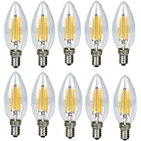 10 Pack 4 Watt LED Pendant Ceiling Light Bulbs Modern Edison E14 Base Holder Candle Light Bulbs Chandelier Lighting Lamp Bulbs Warm White 3000K (Energy Class A)