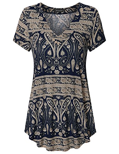 Vinmatto Women's Short Sleeve V Neck Flowy Tunic Top(M,Multi Deep Blue)