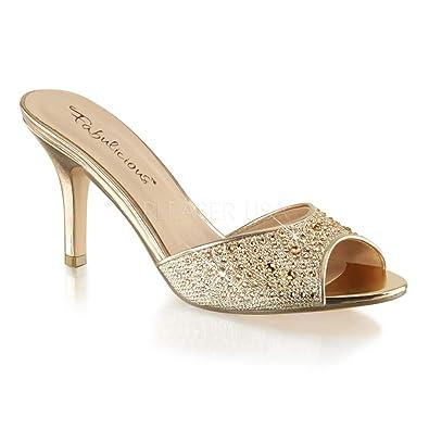 ef7af830b231 Fabulicious Women's LUCY01/Ggfa Dress Sandal, Gold Glitter Mesh Fabric, 5 M  US