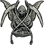 Grim Reaper Skull Ghost God Of Death Dangerous Evil Devil Motorcycle Biker Riding Logo Hog Outlaw Jacket Costume DIY Sew on Iron on Embroidered Applique Patch (RR-IRON-GRIM-REAP)
