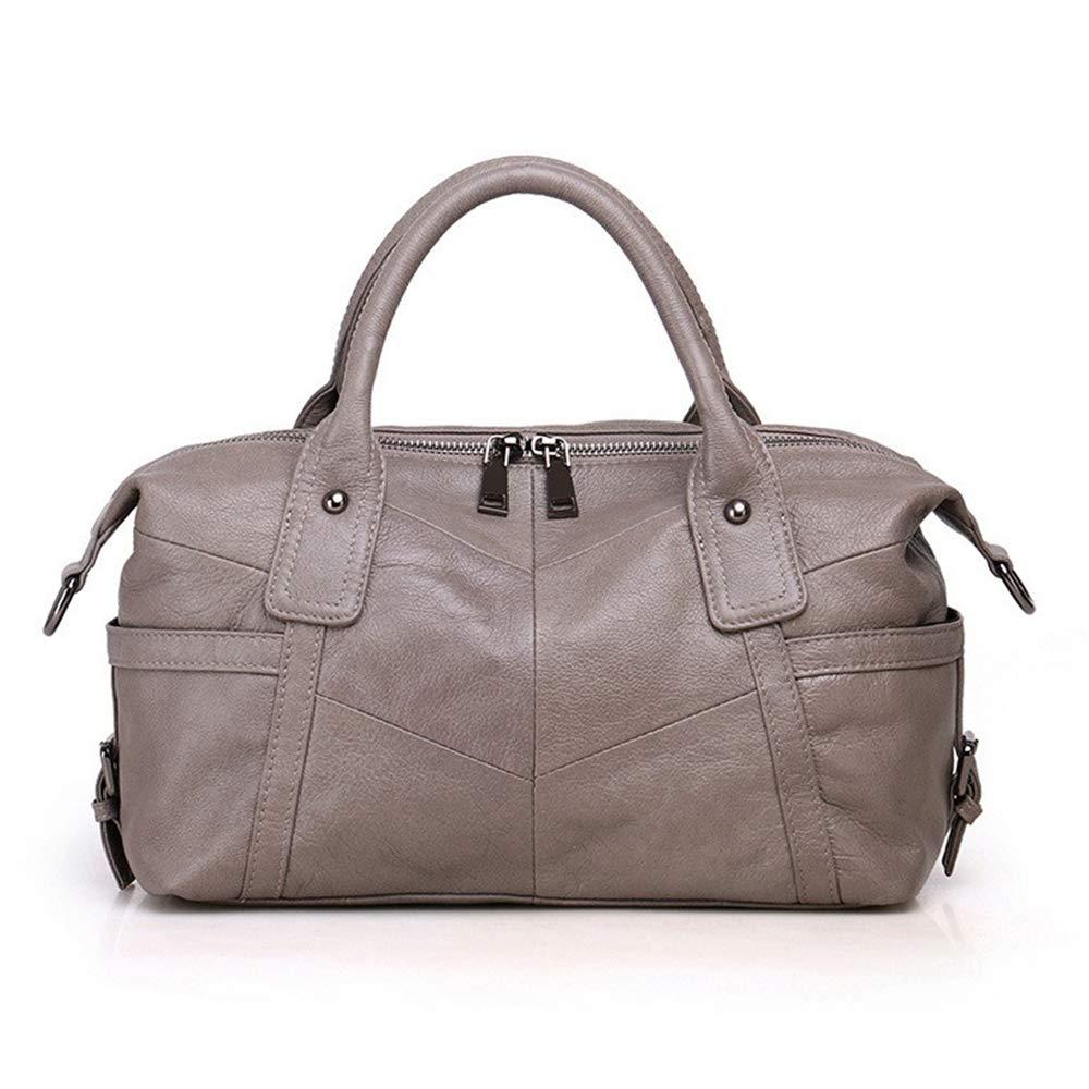 Grey Women Genuine Leather Handbag Female Real Cowhide Bag Crossbody Shoulder Bags Large Capacity Ladies Tote TopHandle Satchel