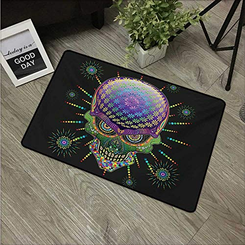 Anzhutwelve Psychedelic,American Floor mats Digital Mexican Sugar Skull Festive Ceremony Halloween Ornate Effects Design W 31