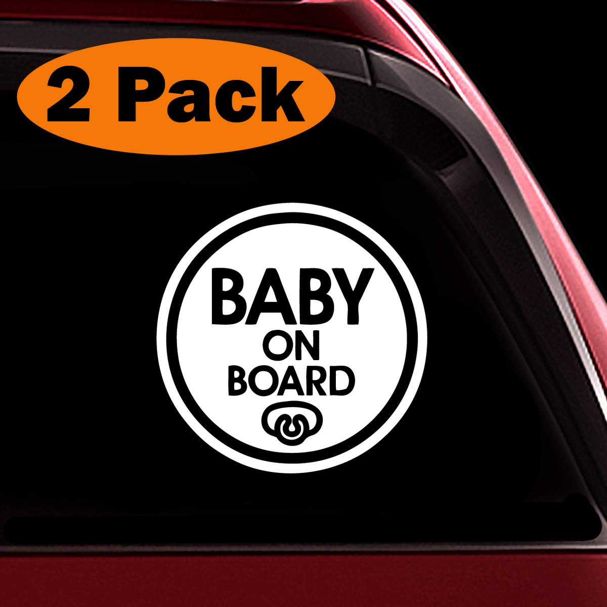 Set of 2 Safety Caution Decal Sign Stickers for Cars Windows Bumpers TOTOMO Baby on Board Sticker - Baby Pacifier ALI-029