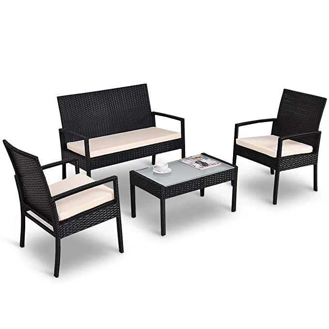 Tangkula 4 Piece Patio Outdoor Conversation Set with Glass Coffee Table, Loveseat & 2 Cushioned Chairs Garden Lawn Rattan Wicker Patio Chat Set ...