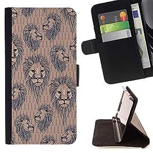Momo Phone Case / Flip Funda de Cuero Case Cover - Patrón León Niños Papel pintado del vintage de Brown - Huawei Ascend P8 (Not for P8 Lite)