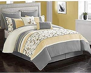 Riverbrook Home Parla Comforter Set, King, Yellow/Gray 8 Piece
