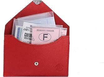 J tr/ès Complet permis Carte didentit/é /étui Carte Grise Cartes Format enveloppe Fr/éd/éric Johns/® Cuir Souple pour Homme ou Femme Porte Papier Voiture en Cuir Bleu 1