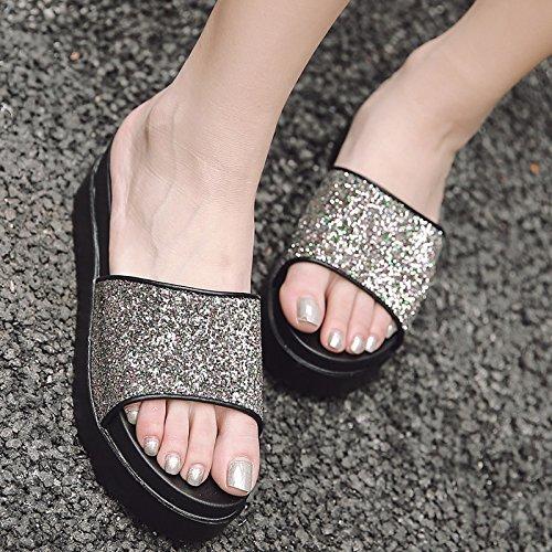 espesor Transpirable de zapatillas arrastrar Moda y soltar de 5cm y 39 el terraza elegante Sandalias plata playa calzado 39 Bizcocho AJUNR Eqf0ap