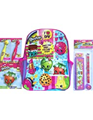 Shopkins Backpack With 5 Pack Stationary Set, 2 Clicker Pens & 1 Giant Scented Eraser