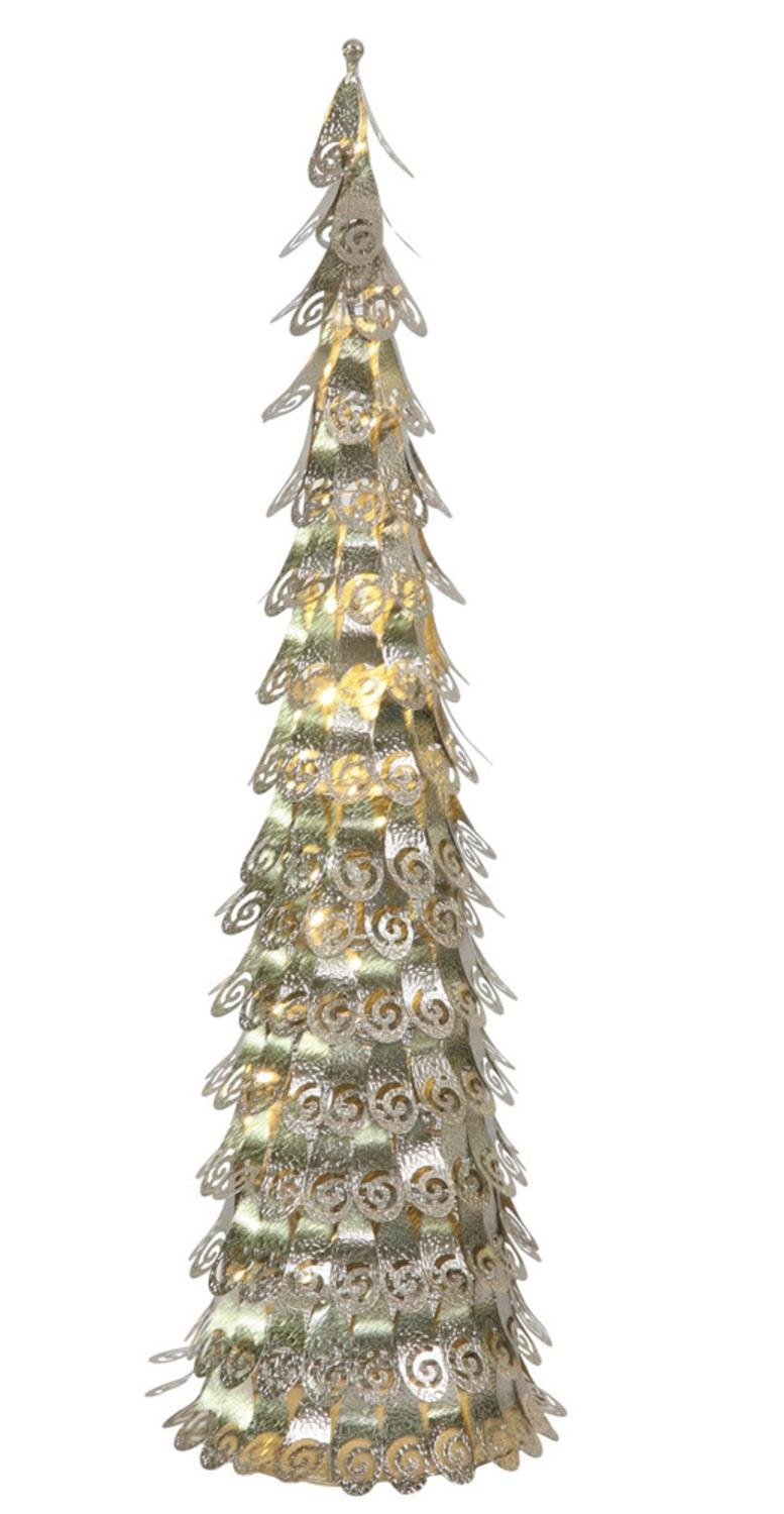 4' Pre-Lit Champagne Christmas Cone Tree Yard Art Decoration - Warm Clear LED Lights