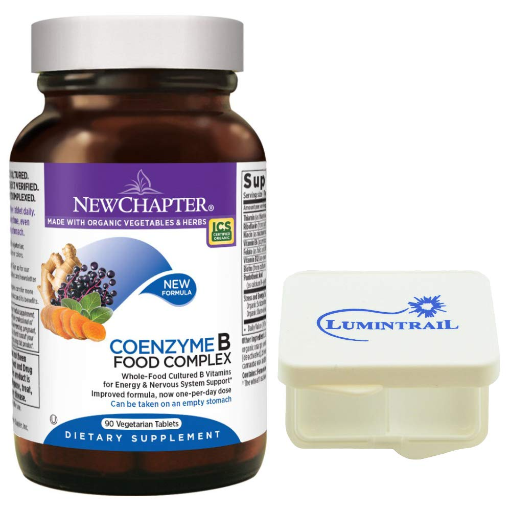 New Chapter Vitamin B Complex - Coenzyme B Food Complex with Vitamin B12 + B6 - Whole-Food - 90 Vegetarian Tablets Bundle with a Lumintrail Pill Case