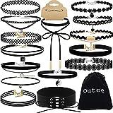 #6: Choker Set, Outee 15 PCS Womens Choker Necklace Set Black Velvet Lace Tattoo Choker Set Girls Stretch Necklace