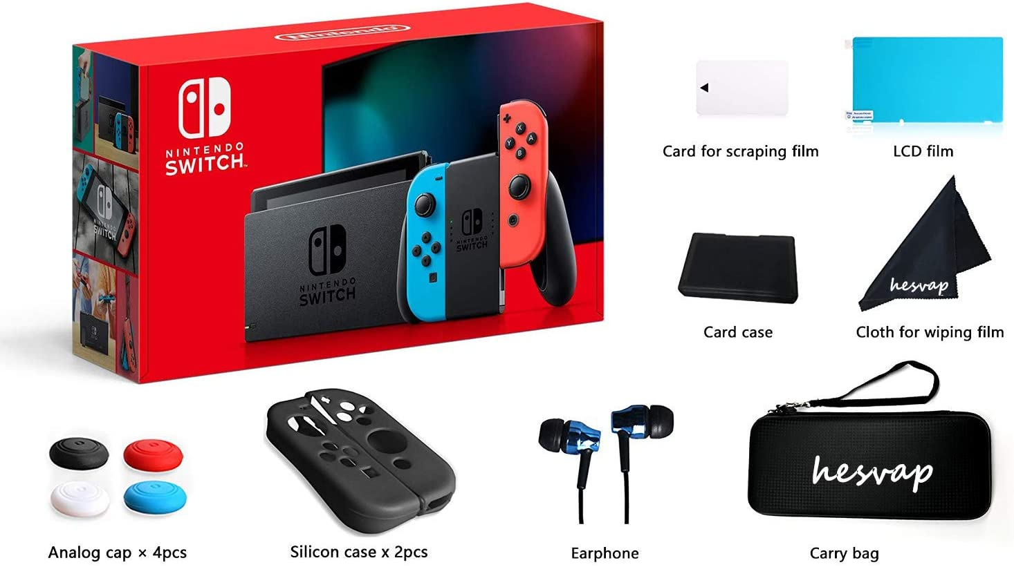 2020 Nintendo Switch with Neon Blue and Red Controllers w/ 69 Value HESVAP 13in1 Supper Kit Case (Earphone, LCD Film, Card Case, Silicon Case x 2pcs, Carry Bag, Wiping Cloth etc.)