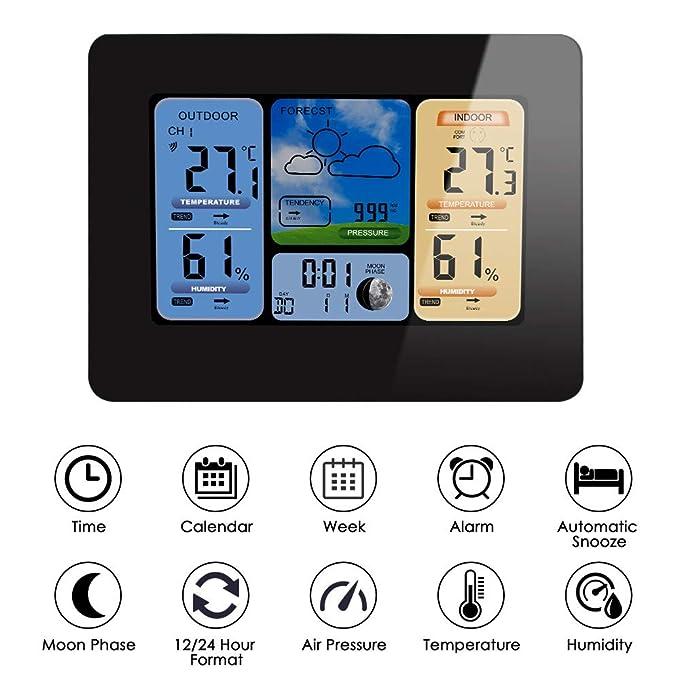 FOOSKOO Clock Relojes meteorológicos Estación Meteorológica LCD Inalámbrica Reloj de Pared Barómetro Termómetro Higrómetro Sensor Pronóstico Pantalla LCD ...