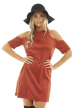 323090179c4 AX Paris Women s Cold Shoulder Suede Dress at Amazon Women s ...