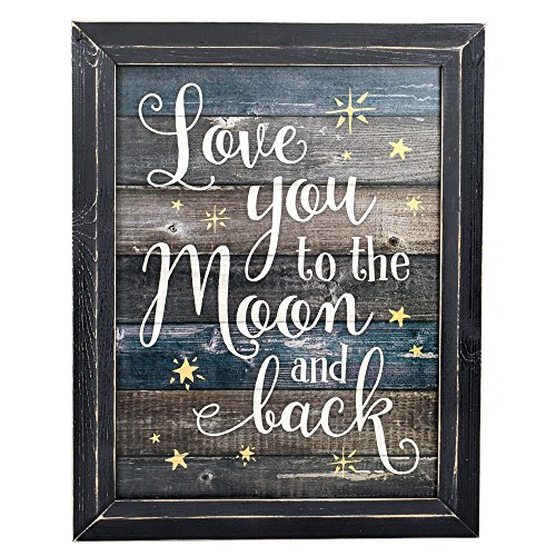 Love You to the Moon and Back Wood Plank Design 18 x 14 Weathered Black Framed Art Wall Sign
