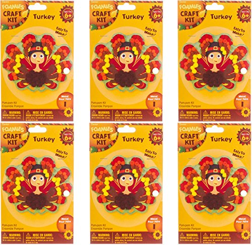 Foamies Kids Thanksgiving Craft Kit Bulk Buy Set of 6 Kits for Group Project Pom Pom Turkey Ages 6+