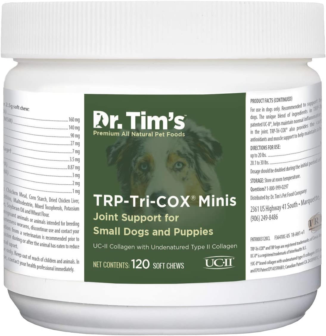 Dr. Tim's Tri-Cox Joint Mini Mobility Chews for Chronic Joint Pain or Joint Injuries Small Breeds, 120 ct, Green (TRICOXMINI120)