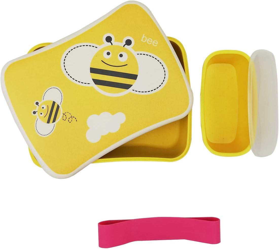 Various Fiambrera Infantil Colegio,Conjunto Sandwichera de bambú.Ideal para Infantil niños y bebé,Material ecológico sin BPA, Apto para lavavajilla-Abeja