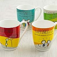 Home Centre Happiness Print Mug Set - Set of 4 Pcs - Multicolour