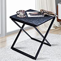 PrimaSleep Modern Natural Granite Top X-Steel Side Table, Blue Pearl and Black