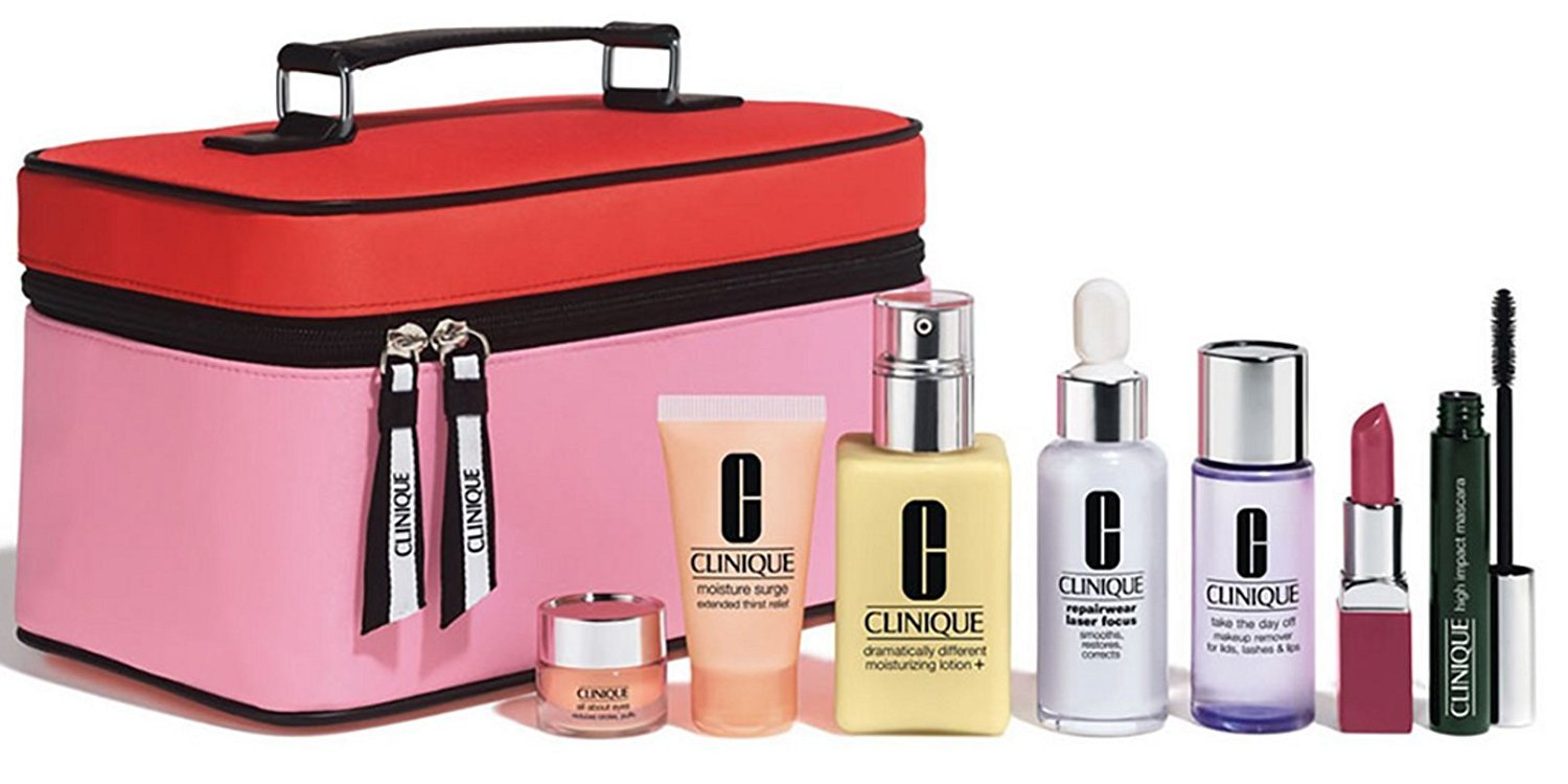 Amazon.com : Clinique Gift Set Limited Edition 8 Pcs Lipstick Mascara Repairwear Serum Moisturizer Makeup Remover Eye Cream Carrying Makeup Case Bag : ...