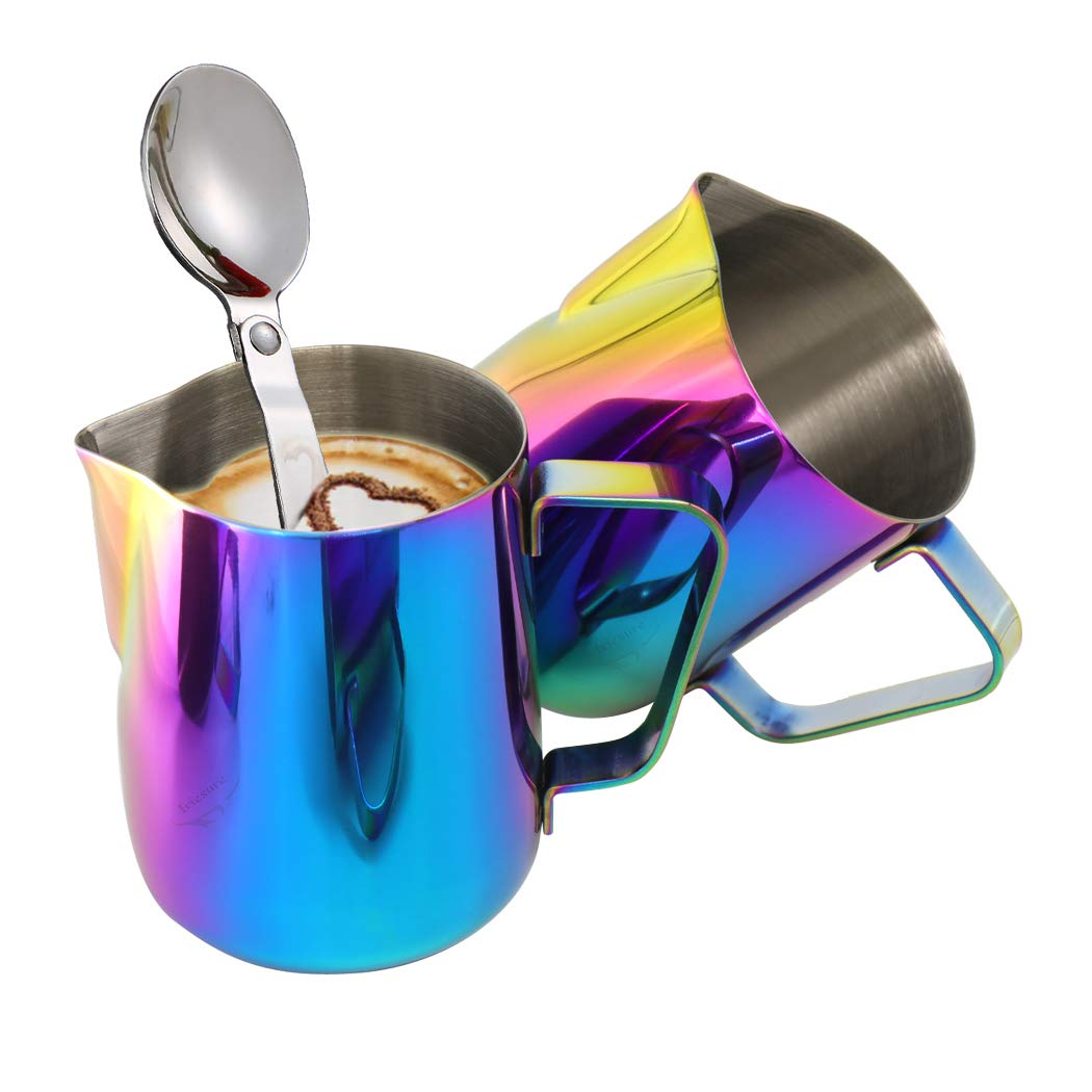 1PCS Milk Pitcher + 1PCS Foldable Spoon, Stainless Steel Milk Cup and Spoon, Good Grip Frothing Pitcher, Coffee Pitcher, Espresso Machines, Milk Frother & Latte Art (600ML) - Rainbow Color by Iriesu