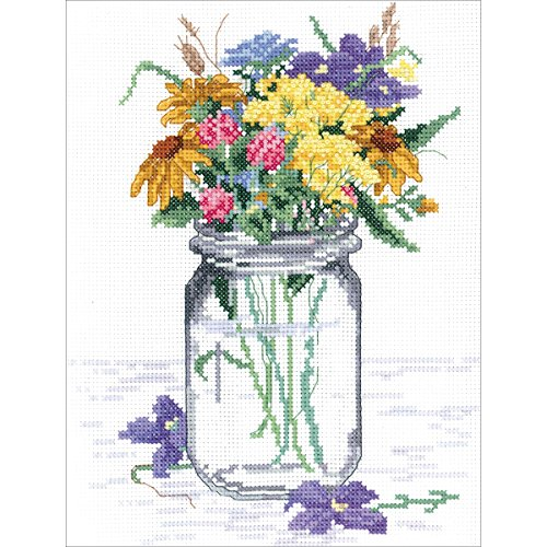 "Janlynn 017-0112 ""Wildflower Jar"" Counted Cross Stitch Kit"