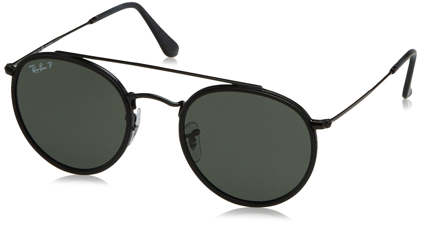 Ray-Ban RB3647N Round Double Bridge Sunglasses, Black/Polarized Green, 51 mm by Ray-Ban