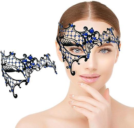 Woman Mask Black Metal Phantom Venetian Ball Masquerade Mask Blue Rihnestones