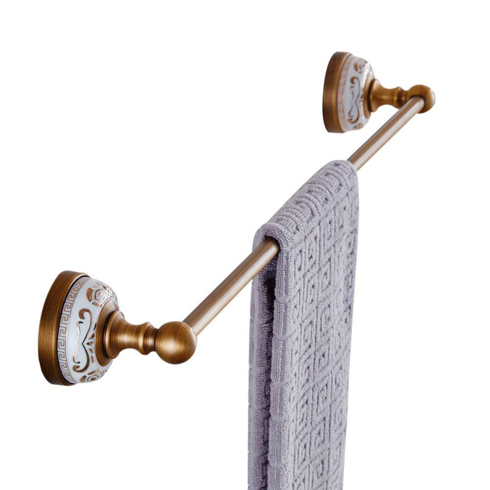 WINCASEヨーロピアンアンティーク銅金メッキシングルタオルバーGoldenタオルラック壁マウントホワイト磁器メタルペンダント浴室ハードウェアペンダントアンティークホワイト磁器Single Poleタオルラック WINCASE B072PW333K Towel Bar Towel Bar