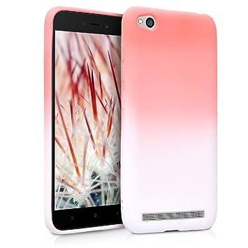 kwmobile Funda para Xiaomi Redmi 5A - Carcasa de TPU para móvil y diseño Bicolor en Rosa Claro/Blanco