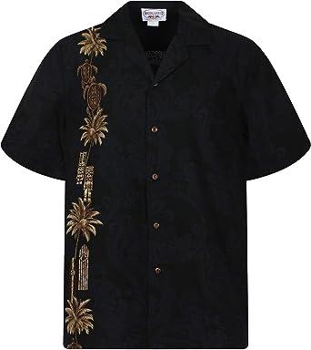 Pacific Legend | Original Camisa Hawaiana | Caballeros | S - 4XL | Manga Corta | Bolsillo Delantero | Estampado Hawaiano | Tortugas | Negro: Amazon.es: Ropa y accesorios