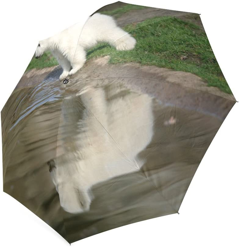 Custom Cute Polar Bear Cubs Compact Travel Windproof Rainproof Foldable Umbrella