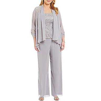 f828fd5b4ea79 Amazon.com  BridalAffair Women s Plus Size Chiffon Pant Set ...