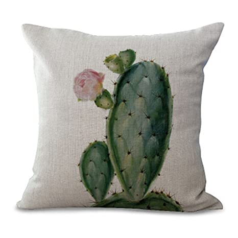 Lamdoo - Funda de cojín con diseño de Cactus, Lino, D# 0006d, 45x45cm(17.72x17.72in)(Approx)