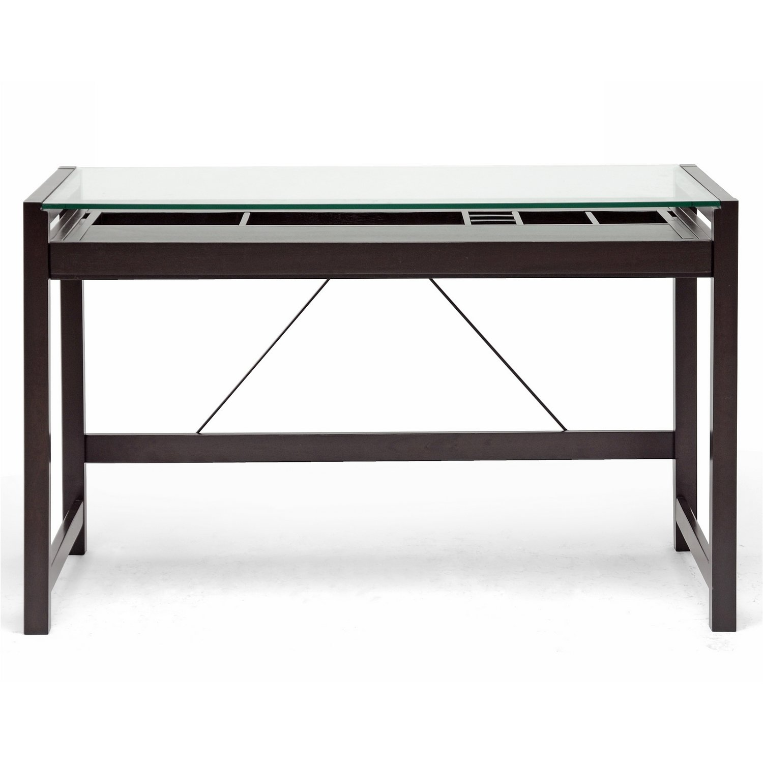 amazoncom baxton studio idabel dark brown wood modern desk with  - amazoncom baxton studio idabel dark brown wood modern desk with glasstop kitchen  dining
