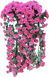 Hanging Flowers Artificial Hanging Basket Flower Wall Wisteria Basket Hanging Garland Vine Flowers Fake Silk Orchid Home Hotel Office Wedding Party Garden Craft Art Outdoor Décor (Hot Pink)