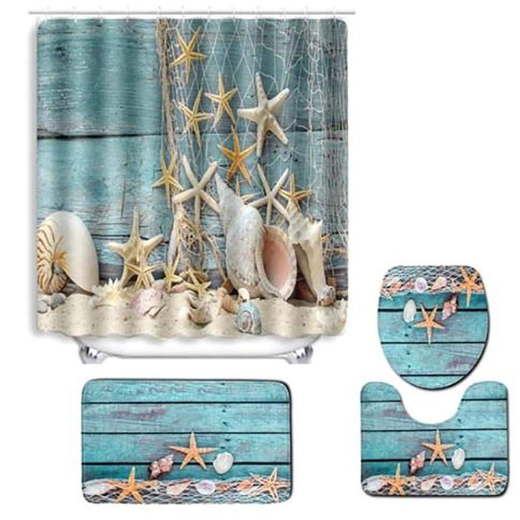 Shower Curtain Bathroom Mat 4pcs Set Print Toilet Seat Cushion Non-Slip Bath Mat