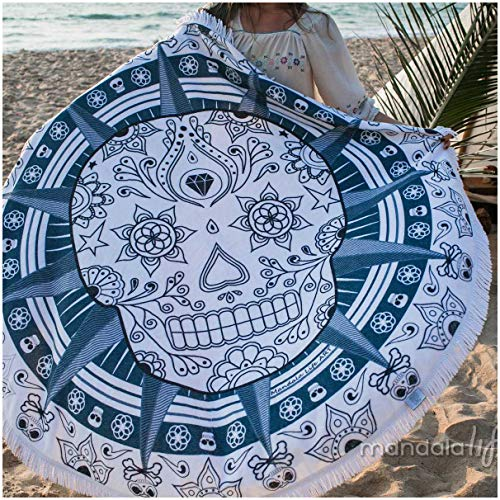 Mandala Life ART 2019-59 inches - Sugar Skull Pirate Bohemian Round Terry Cotton Beach Towel - Luxury Fringes - Made in ()